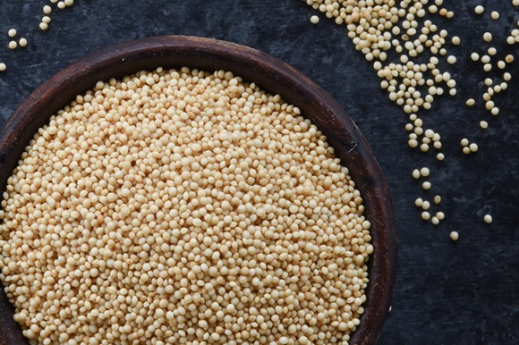 Amaranth in bowl overhead