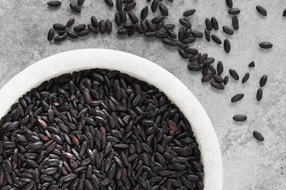 Chinese Black Rice in bowl overhead