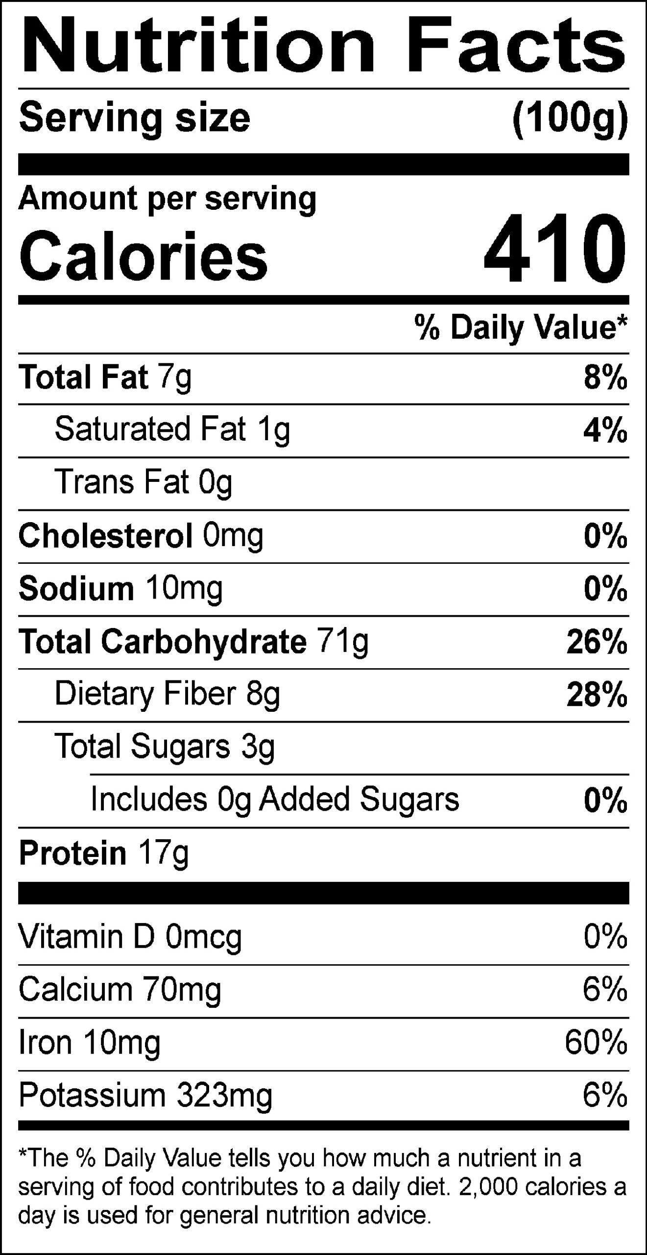Crispy White Quinoa nutrition label
