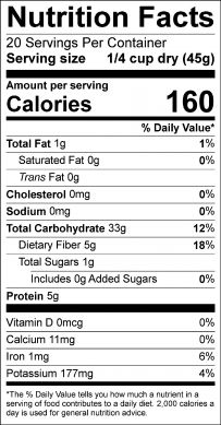 Mexica medley nutrition label
