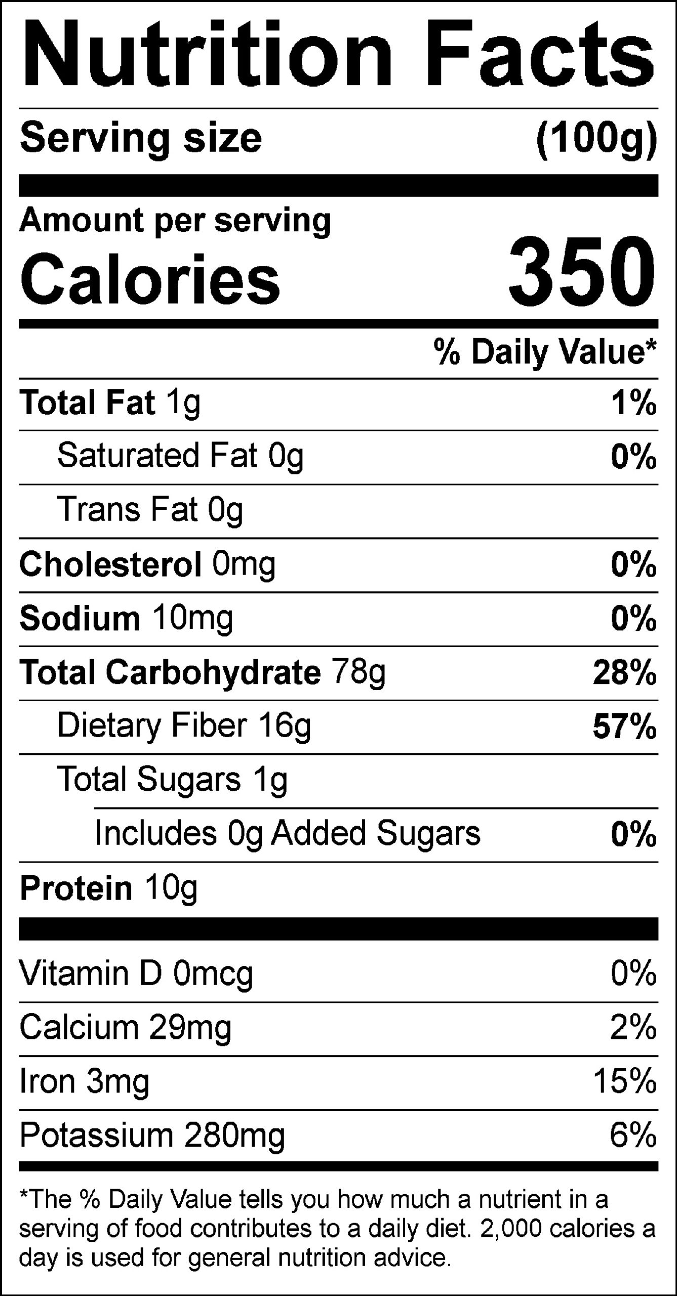 Organic Hulless Barley nutrition label