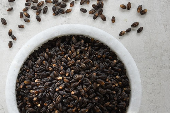Organic Parboiled Black Barley in bowl overhead