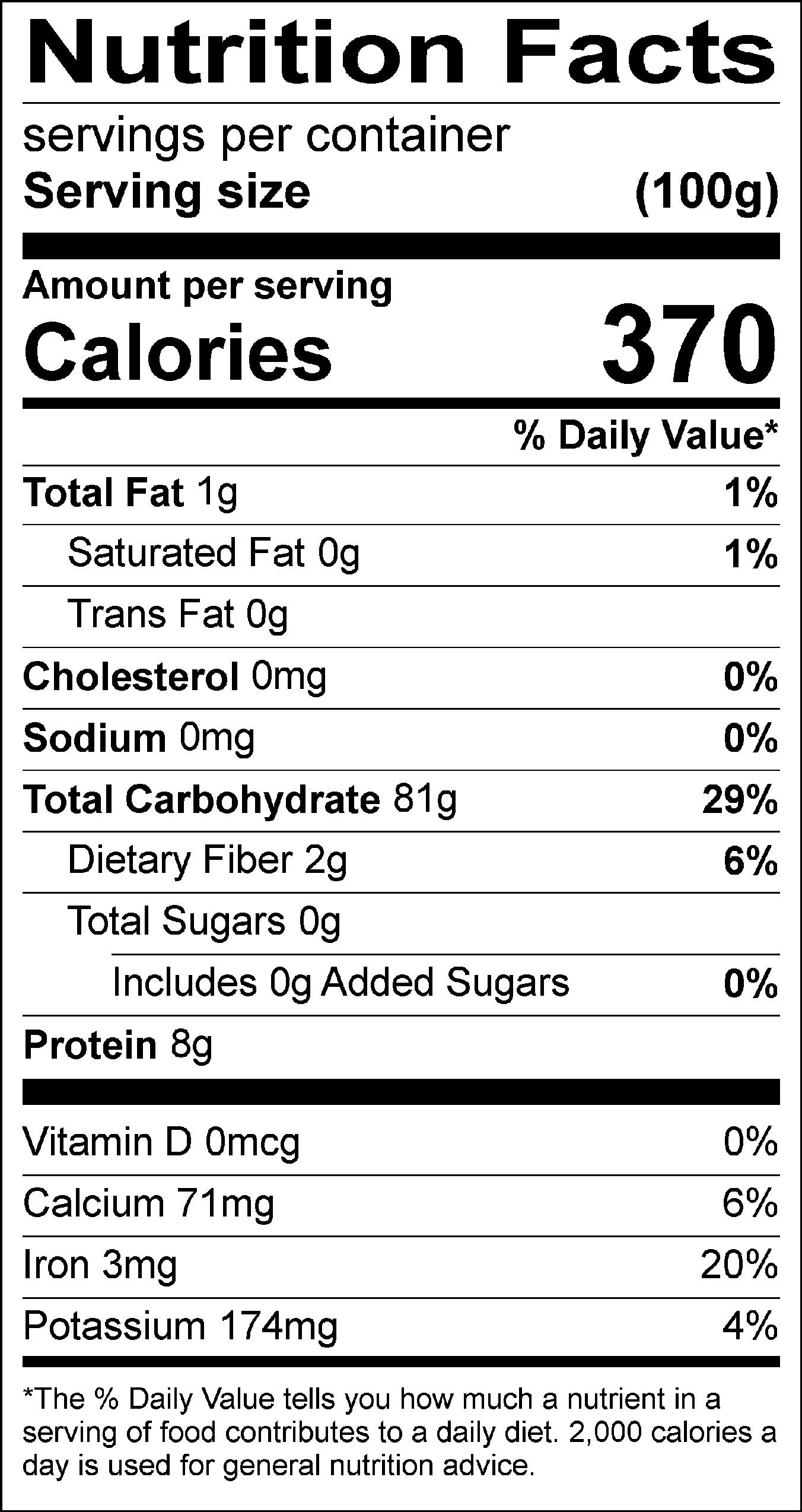 White rice nutrition label