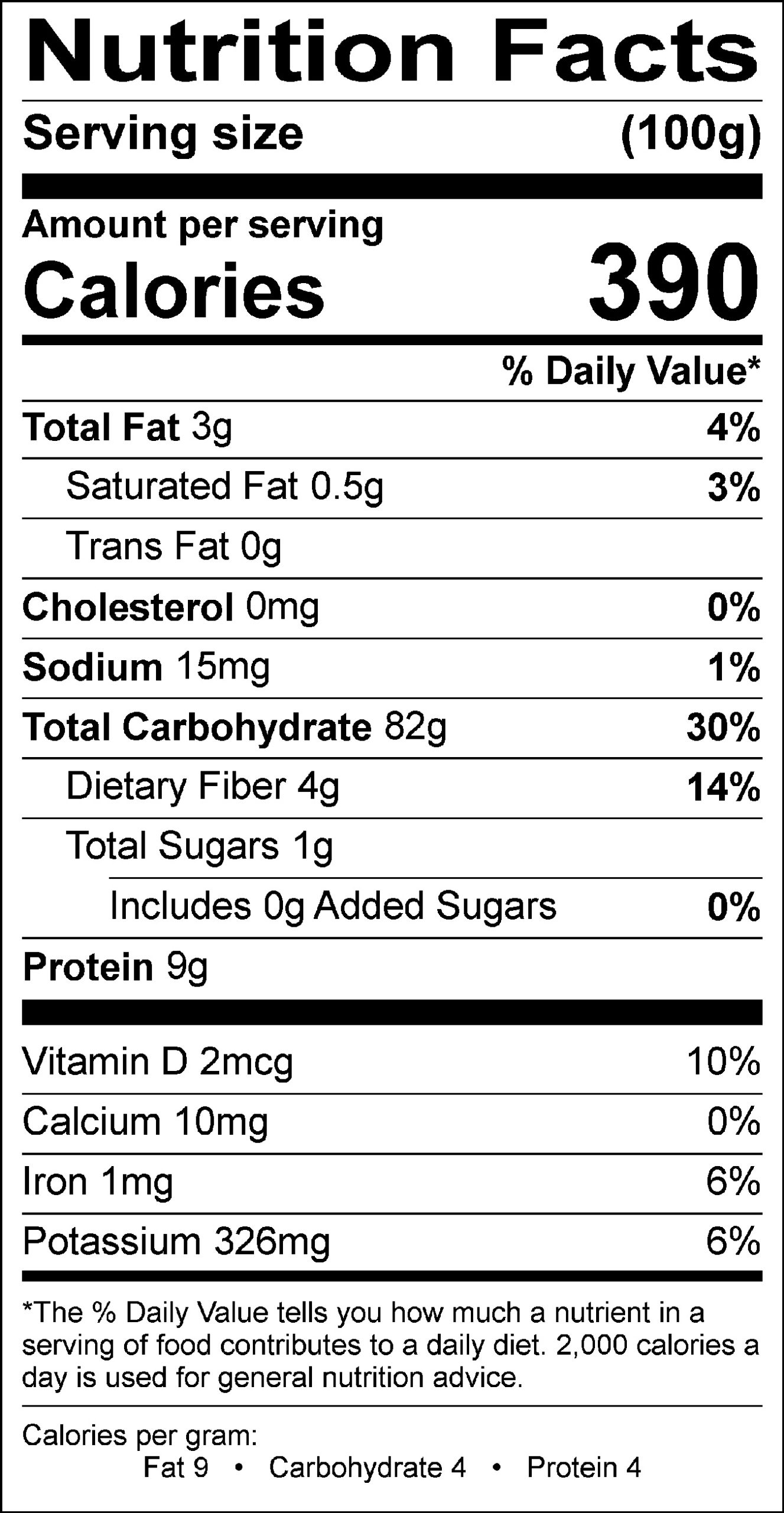Brown rice nutrition label