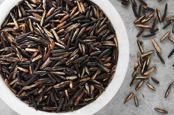 Quick cook wild rice overhead in a bowl