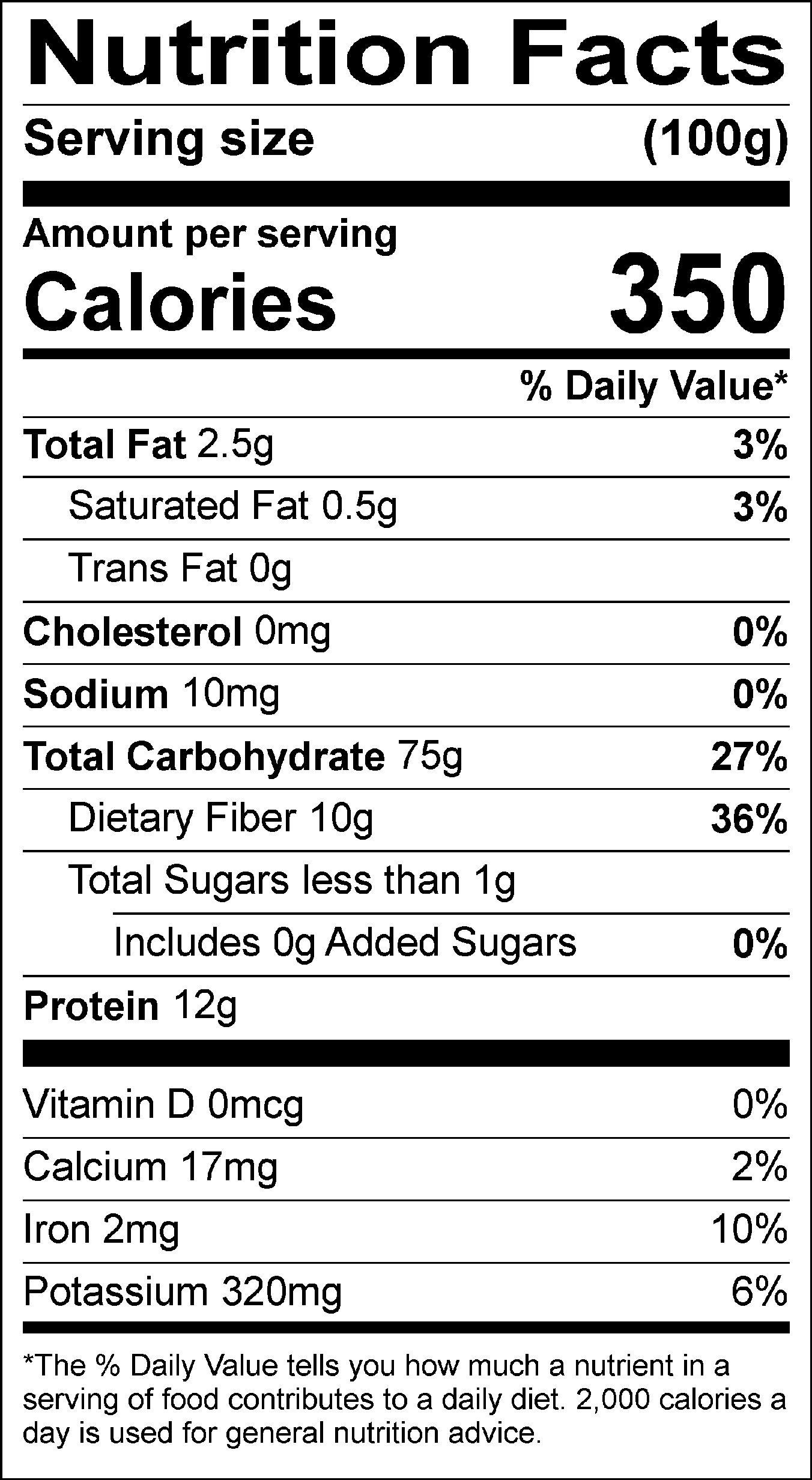 Buckwheat nutrition label