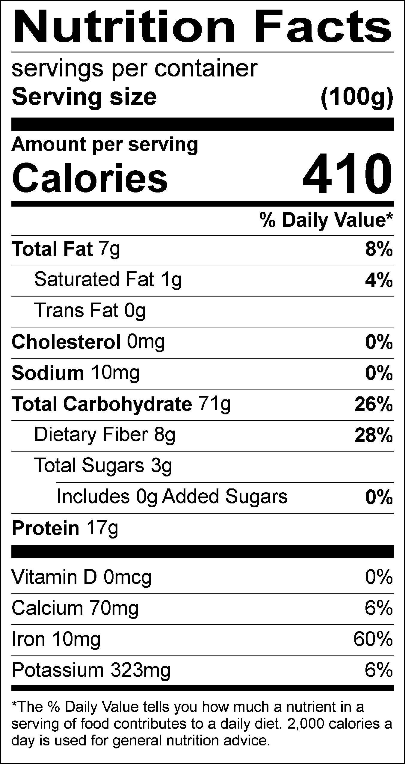 Toasted White Quinoa nutrition label