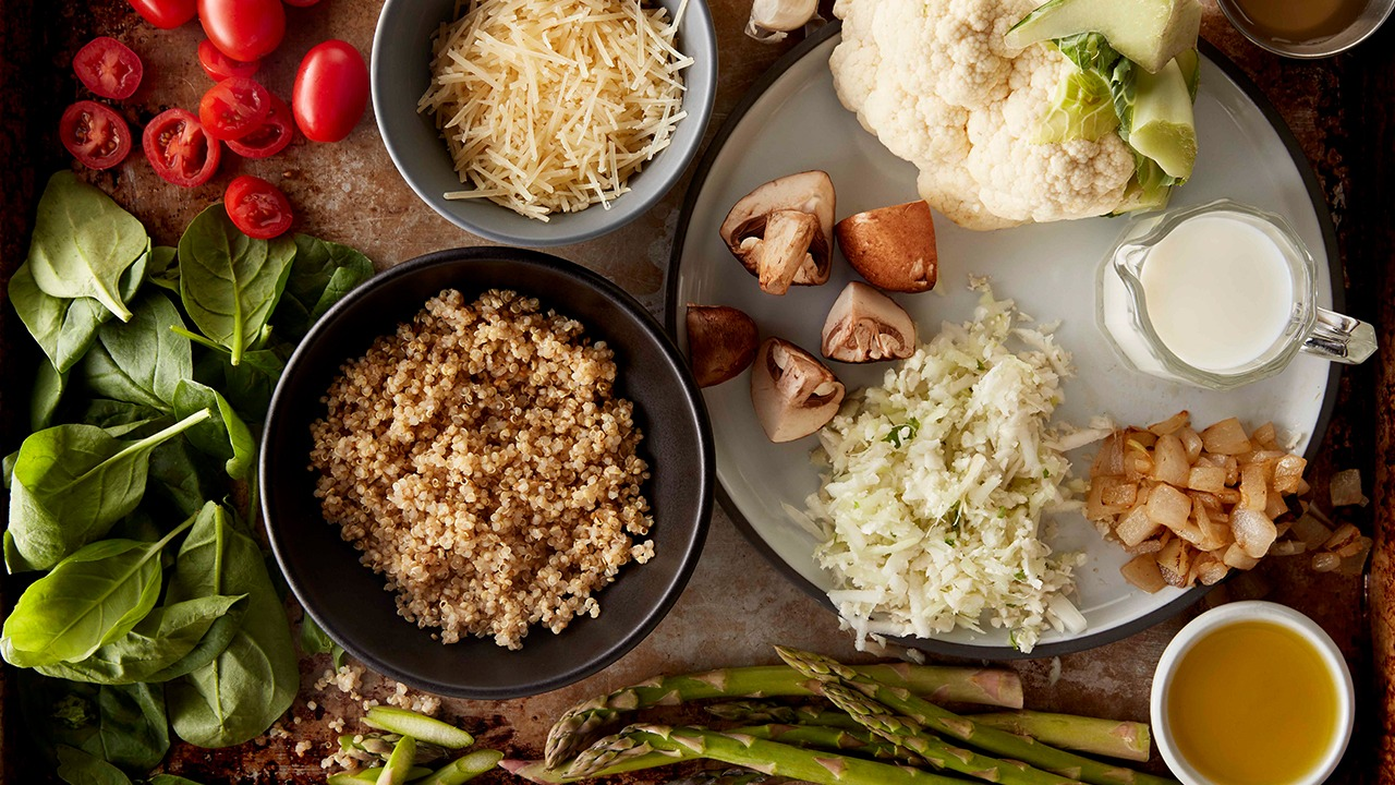 Quinoa cauliflower asparagus risotto ingredients