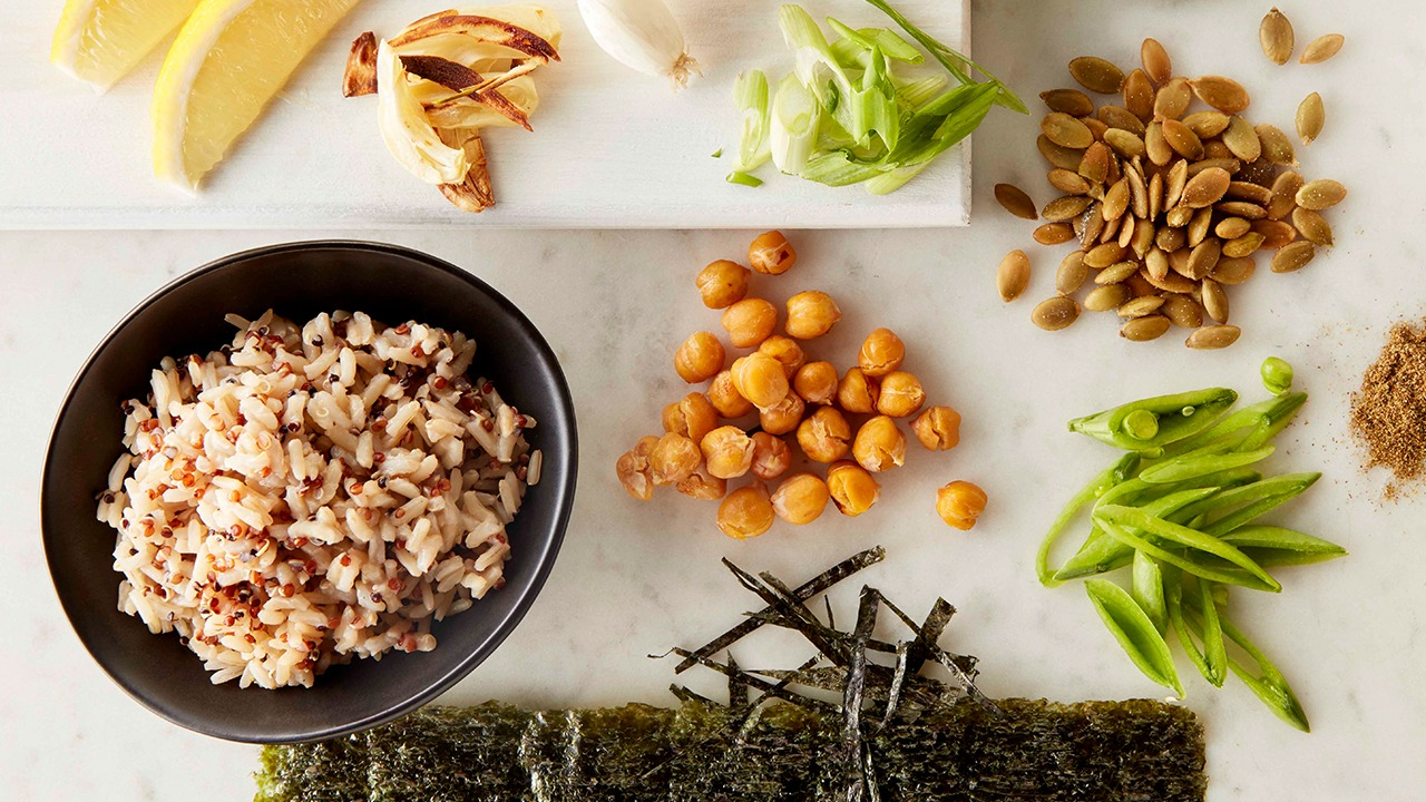 Seaweed and garlicky chickpea rice bowl ingredients on counter