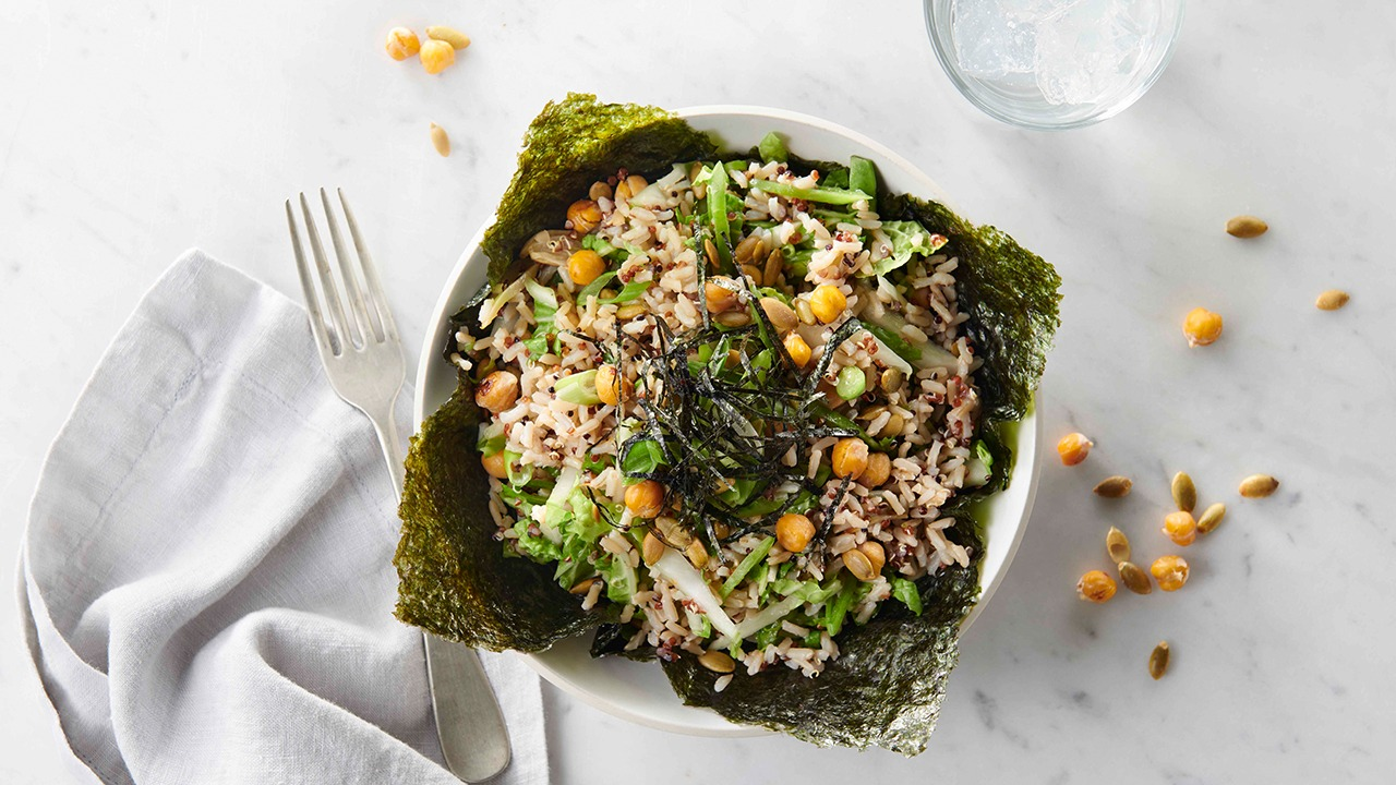 Seaweed and garlicky chickpea rice bowl on counter